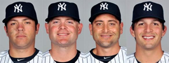 Yankees catcher (L to R): Romine, McCann, Cervelli, Murphy