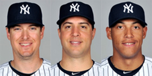 Yankees corner infielders (L to R): Johnson, Teixeira, Solarte.