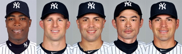 Yankees outfielders and designated hitters (L to R): Soriano, Gardner, Beltran, Ichiro, Ellsbury.