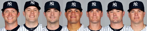 Yankees relief pitchers (L to R): Warren, Phelps, Robertson, Betances, Thornton, Claiborne, Kelley.