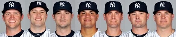 Yankees relief pitchers (L to R): Warren, Phelps, Robertson, Betances, Thornton, Claiborne, Kelley.