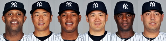 Yankees starting pitchers (L to R): Sabathia, Kuroda, Nova, Tanaka, Pineda, Nuno.