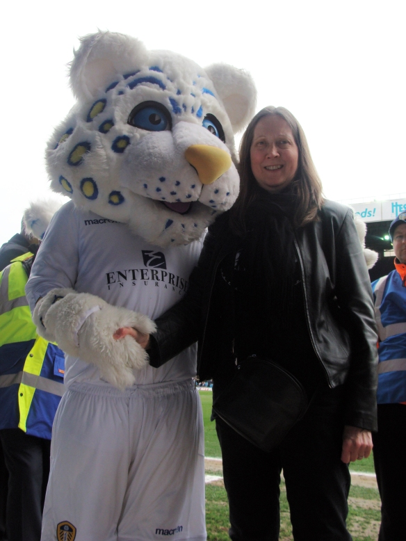 Leeds mascot, Lucas hopes for a bright future, accompanied by a mysterious friend