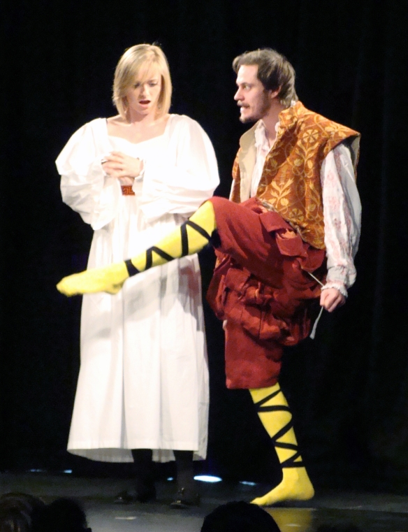 ..... yellow stockings? Malvolio (Lee White) loves Olivia (Alice Loombe) - okay?