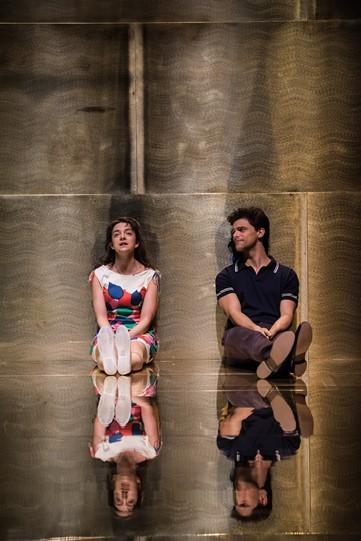 Patsy Ferran (Portia) and Jacob Fortune-Lloyd (Bassiano) together.