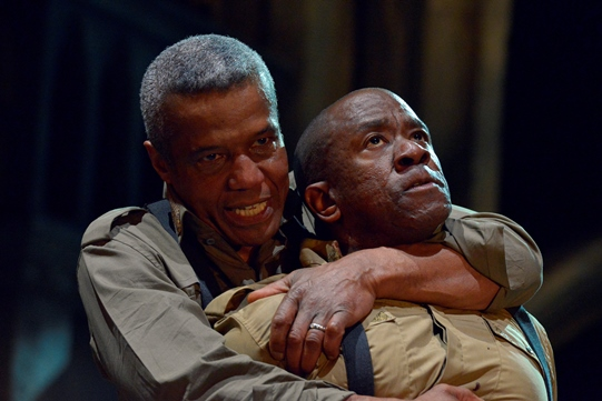 Lucian Msamati as a black Iago with his hated rival the Moor